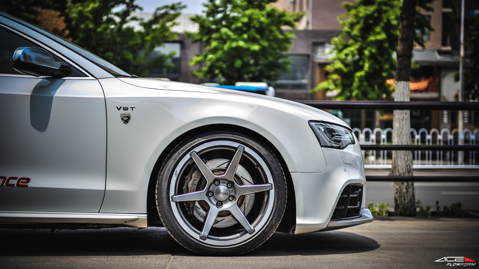 "Audi S5 w/ 19"" Aftermarket ACE Alloy Flowform AFF06 Titanium Milled Machined Lip Aftermarket Wheels/ Rims"